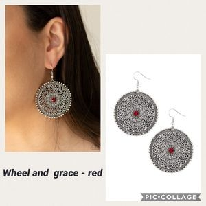 Wheel and grace Red Earring
